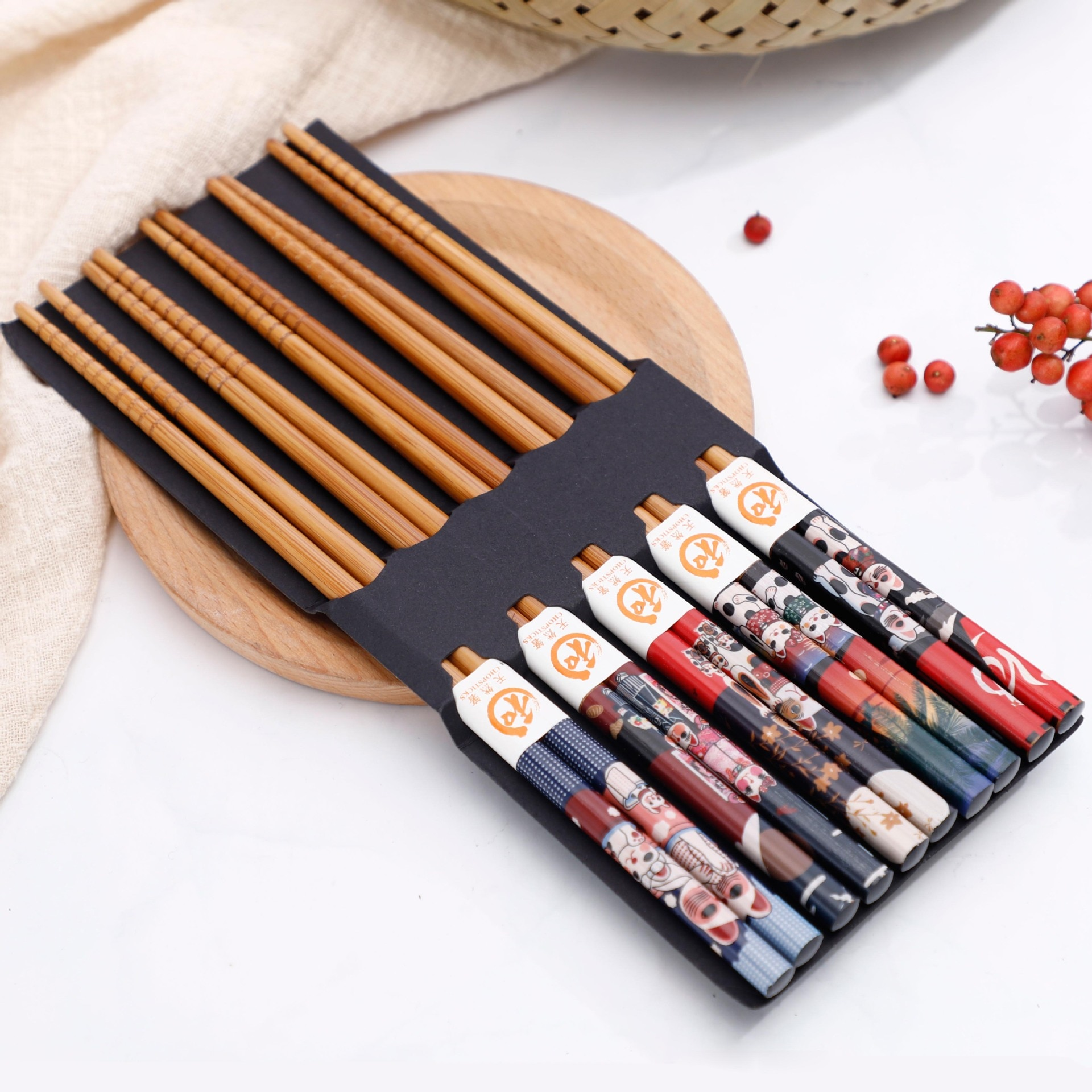 10 pares gato sorte bambu pauzinhos ecológicos madeira artesanal hello kitty sushi chop sticks estilo japonês chinês ferramentas de cozinha