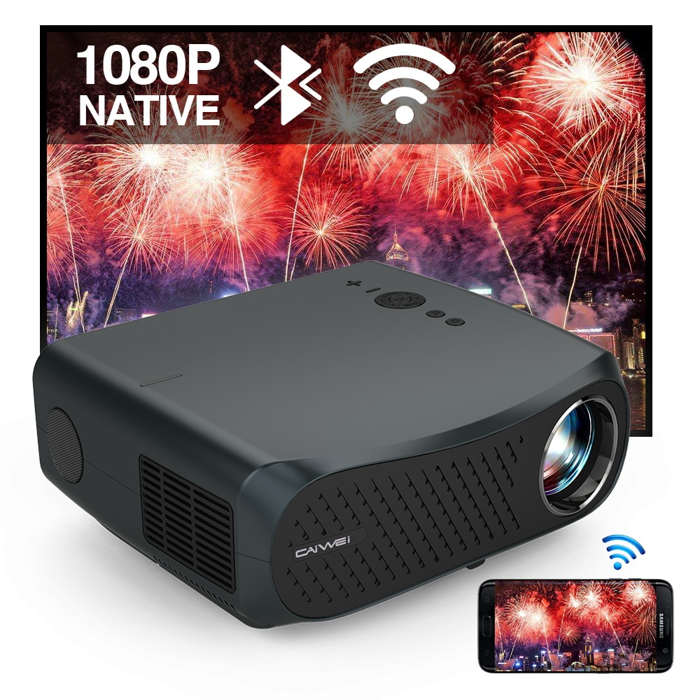 CAIWEI A12AB Native 1080P 7200 Lumens LED Android 6.0 Wifi Bluetooth Projector Full HD for Home Cine