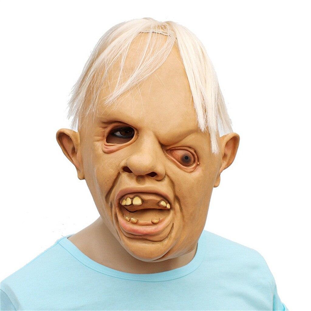 Máscara de cabeza completa de Halloween loco de látex de miedo de una persona de ojos máscara de Horror de Maska grozy Mascara de compras Wd3