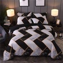 Irregular Geometric Bedding Sets 3D Microfiber Marble Texture 2/3pcs Black White duvet Cover Set For Home Luxury Textiles