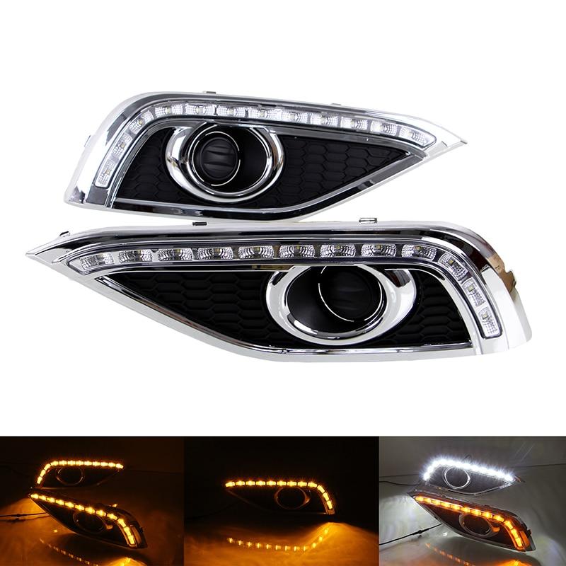 1 Set 12V LED Car Front Bumper Daytime Running Light Turn Signal Flashing Indicator Lamp for Honda CRV 2012-2013 Car Lighting