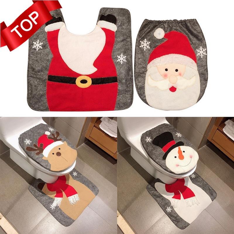 1/2/3/4 шт. Необычный Санта Клаус коврик для ванной комнаты Набор контурный ковер, украшение на Рождество Navidad рождественские товары для вечеринки новогодний дом