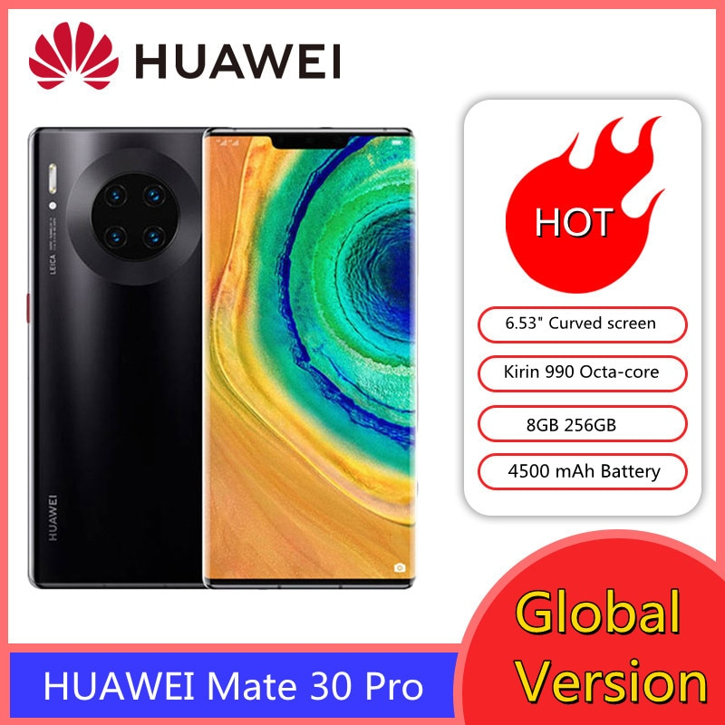 Global Version HUAWEI Mate 30 Pro 30pro 8GB 256GB Smartphone 40MP Cameras 6.53'' Curved Screen Kirin 990 Mobile Phone