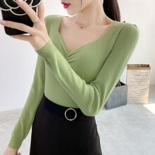 Autumn and Winter 2020 New V-neck Pullover Sweater Female Slim Fit Skinny Inner Match Short All-Matc