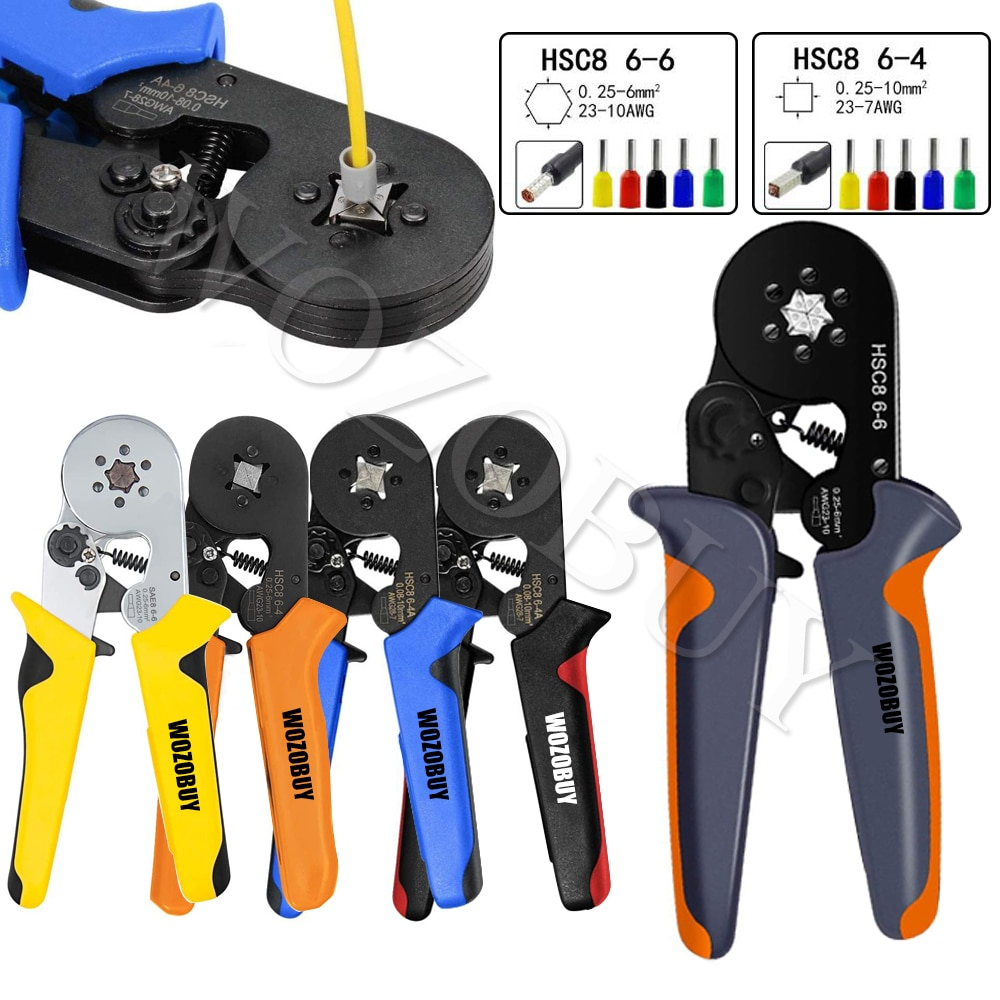crimping tool set crimp tools wire crimping tool kit ferrule crimping plier tools 1200pcs wire ferrule terminals kit 0 25 10mm² Ferrule Crimping Tool Kit - Ferrule Crimper Plier (AWG 23-10) w/ 1800pcs Wire Ferrules Kit Wire Ends Terminals