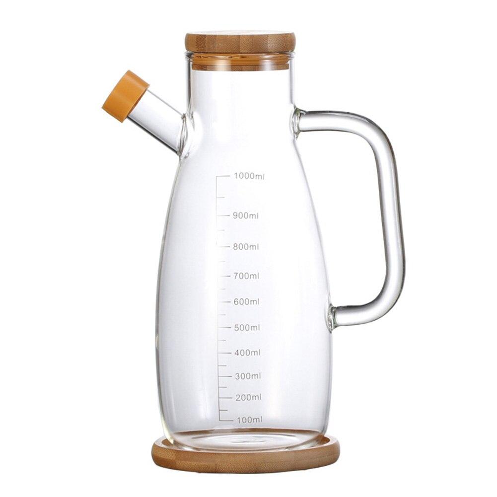 Bote dosificador de aceite de oliva de cristal de 700/1000ML, a prueba de goteo, botella de aceite vinagre a escala, botella para salsa de soja con tapón de madera-35