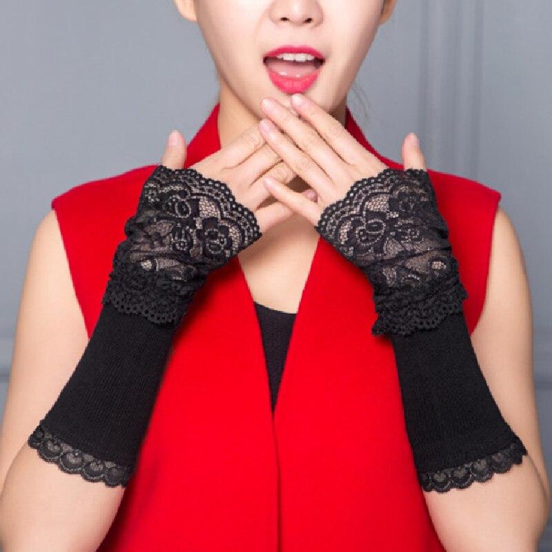 Зимние грелки для рук для женщин, грелка для рук, черные хлопковые длинные перчатки без пальцев, кружевные грелки для рук