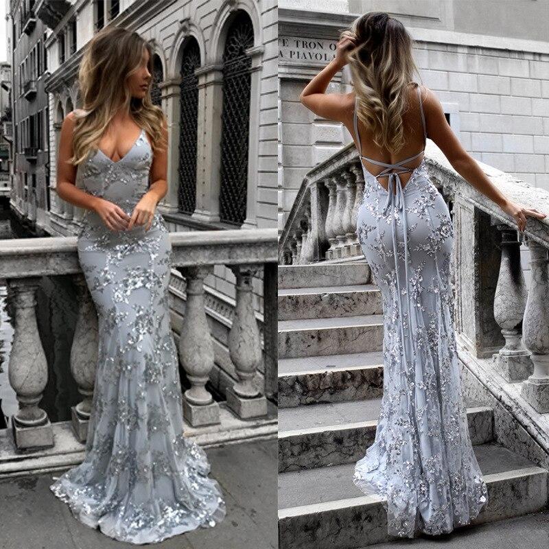 2020 nuevo elegante sin mangas cuello redondo de alta cintura espalda descubierta Vestido largo de plata de noche Sexy Deep V Strap Color sólido vestido Hot Ladies
