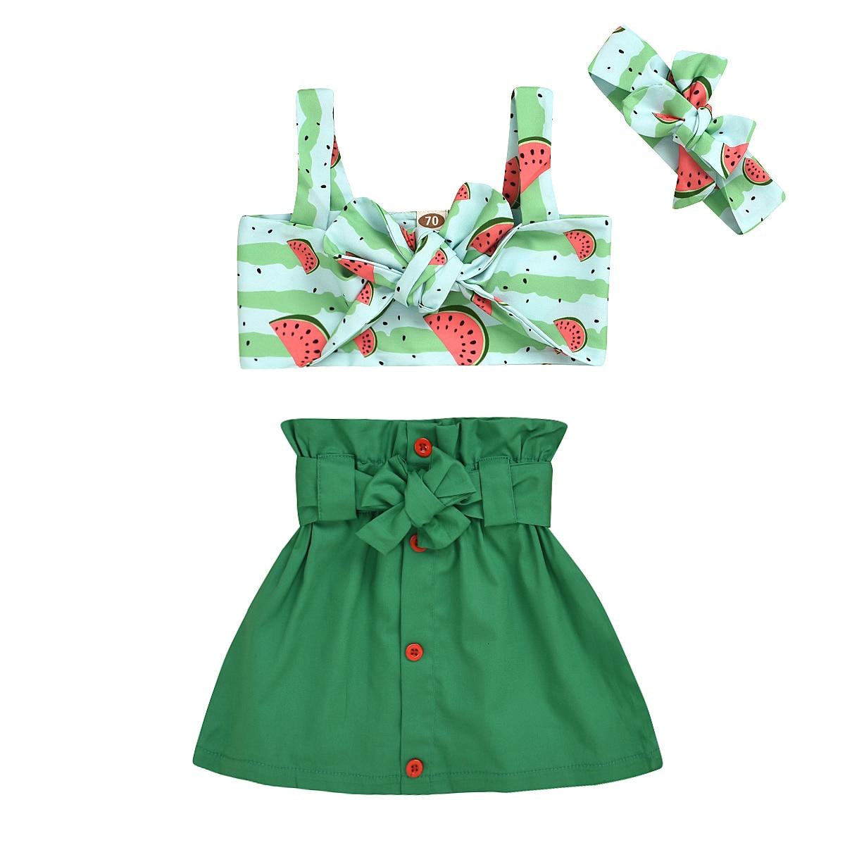 0-24M Newborn  Baby Girls Watermelon Printed Sling Crop Tops + Bowknot Solid Skirt + Headwear Clothes Set