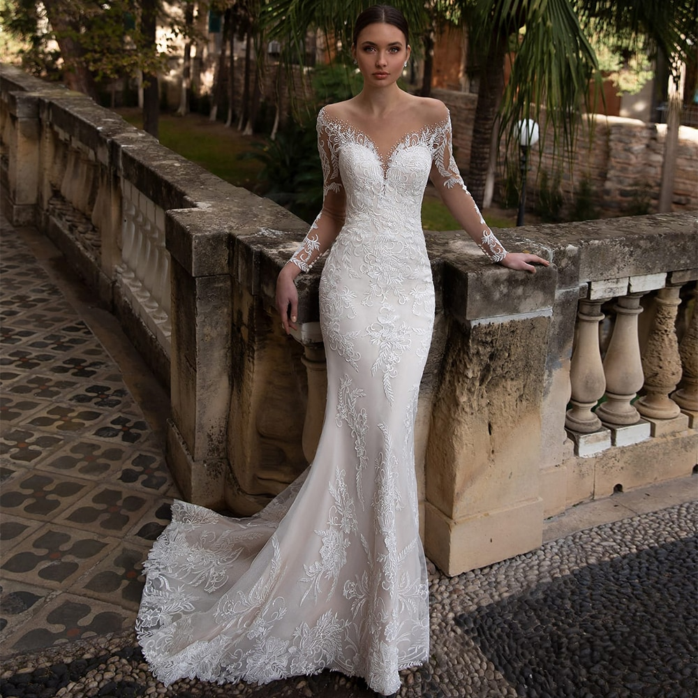 Review Mermaid Wedding Dresses 2021 Appliqued Crystal Lace Appliques O Neck Long Sleeves Button Sweep Train Bridal Gowns