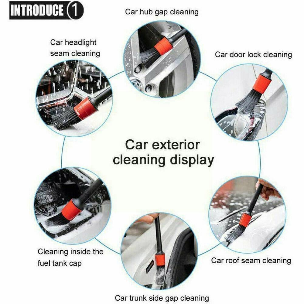 5 шт./компл. щетки для чистки автомобильного детейлинга, щетка для чистки интерьера, внешних колес, чистящие шины, кожаные вентиляционные отв...