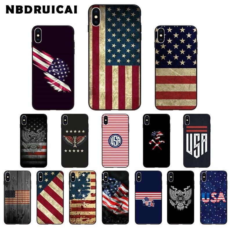 NBDRUICAI bandera americana de EE. UU. TPU funda de silicona suave para iPhone 11 pro XS MAX 8 7 6 6S Plus X 5 5S SE XR funda