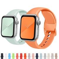 Ремешок для Apple Watch 44 мм 40 мм 38 мм 42 мм, мягкий резиновый силиконовый Браслет для iWatch 3 4 5 se 6 42 44 40 мм