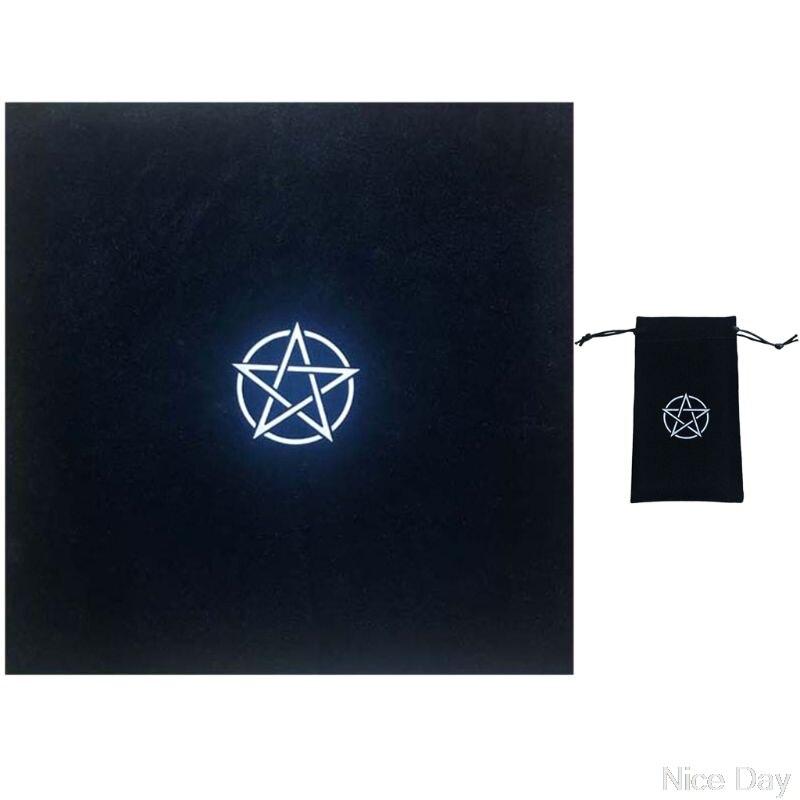 "Pentagrama mantel para Tarot con bolsa de terciopelo Altar Tarot paño ""pentaculos"" Tarot Mat My28 20 Dropship"