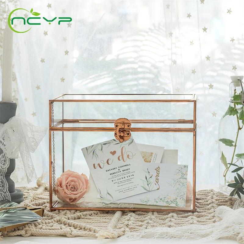 NCYP стеклянный террариум из чистой меди карточная коробка геометрический Террариум ножная защелка ручной работы прямоугольная для свадебного торжества стеклянная коробка