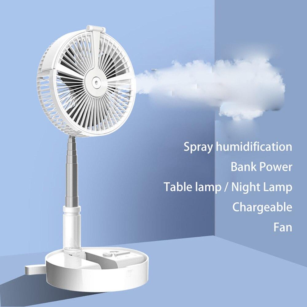 Ventilador eléctrico USB para humidificar y hidratación, ventilador en aerosol portátil, abanico retráctil plegable, lámpara de escritorio, ventilador, luz nocturna telescópica