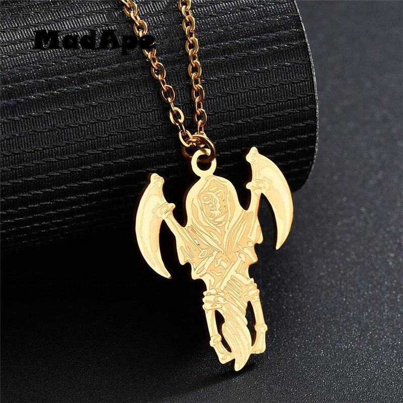 MadApe temible Grim Reaper hoz colgante collar para mujer de plata de oro de acero inoxidable de Color joyería, colgante, accesorios