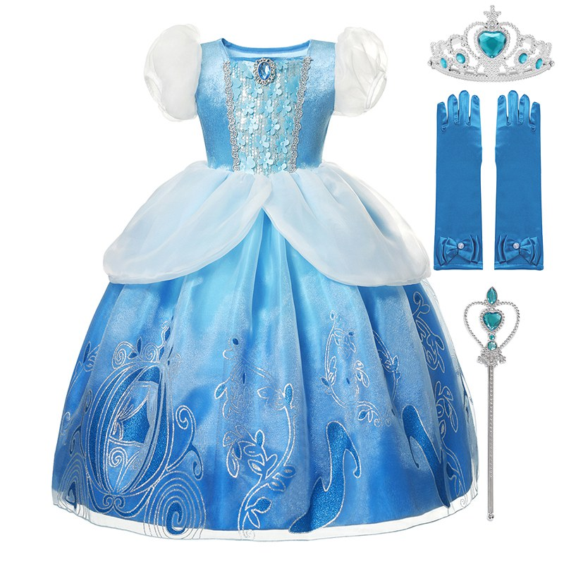 Vogueon menina cinderela princesa festa de halloween traje de manga curta azul fantasia bola vestido crianças fantasia roupas aniversário vestido