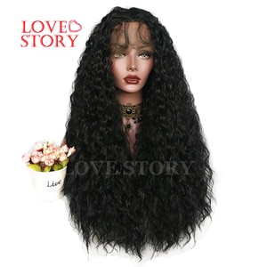 Lovestory Loose Curly Synthetic Lace Front Wig Black Color Heat Resistant Synthetic Replacement Hair Wigs For Women