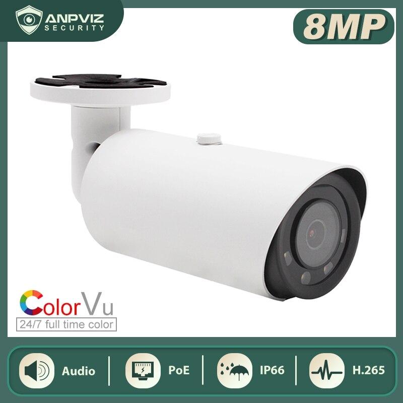 Anpviz 8MP POE IP كاميرا رصاصة سوبر ملون الأمن كاميرا ميكروفون مدمج الصوت IP66 للرؤية الليلية 30m
