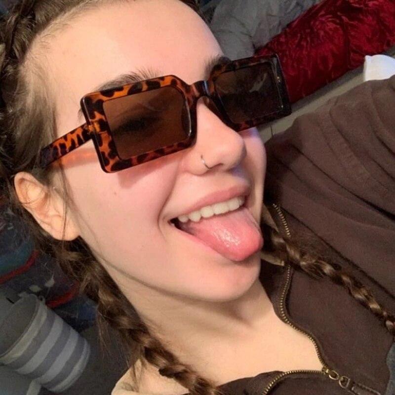 Unique Leopard Rectangle Women's Sunglasses PC Frame Wrap Sun Glasses For Women Outside Travel