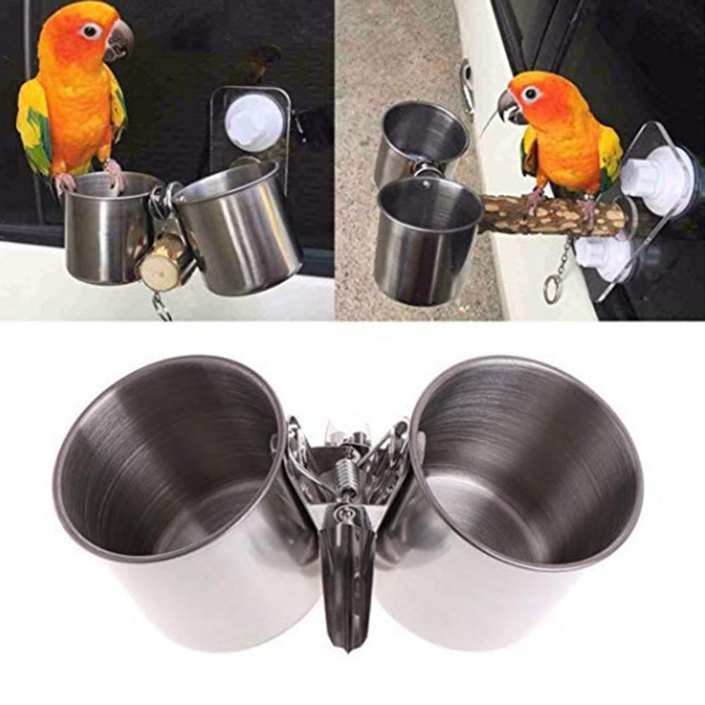 Alimentador de loro de Metal pájaro de alimentación de loro, tazón de fuente de alimentación de agua, jaula para mascotas, dispensador de vasos con Clip, suministros para mascotas, bebedero para loros