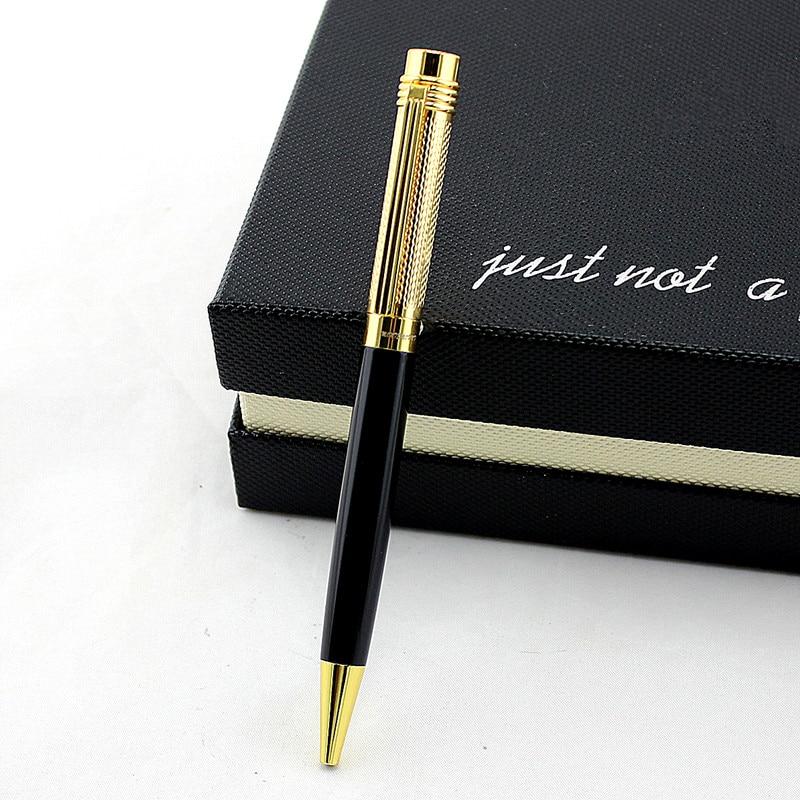 Высококачественная роскошная черная и золотая металлическая шариковая ручка рекламная Шариковая ручка для школы офисные принадлежности