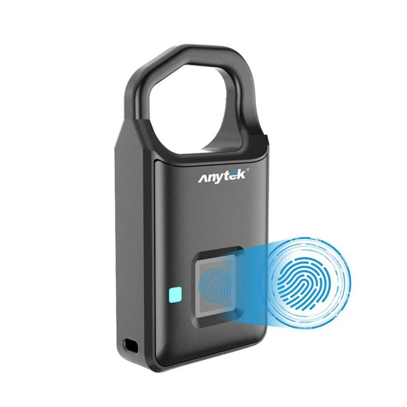 Mini candado electrónico de Larga modo de reposo de bloqueo de huella digital inteligente de puerta portátil negro para equipaje de viaje, seguridad del almacén del hogar