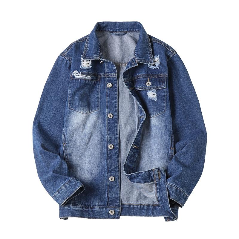 Primavera otoño abrigo de mezclilla para hombre de talla grande estilo coreano ajustado a la moda azul Denim Top juvenil Casual chaqueta de mezclilla Simple para hombres