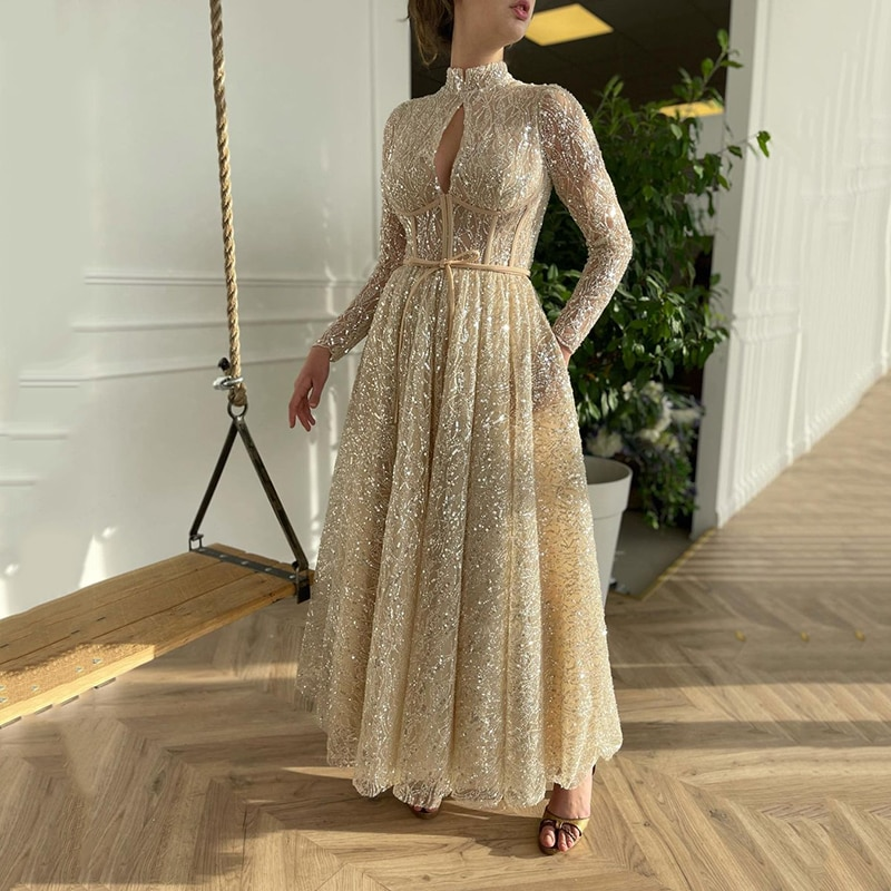 UZN A-Line Prom Dress Champagne High Collar Long Sleeves Glitter Lace Evening Party Gowns Saudi Arabia Celebrate Customize