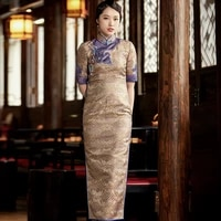 the new summer 2020 chinese wind restoring ancient ways temperament of traditional silk brocade long qipao dress dress