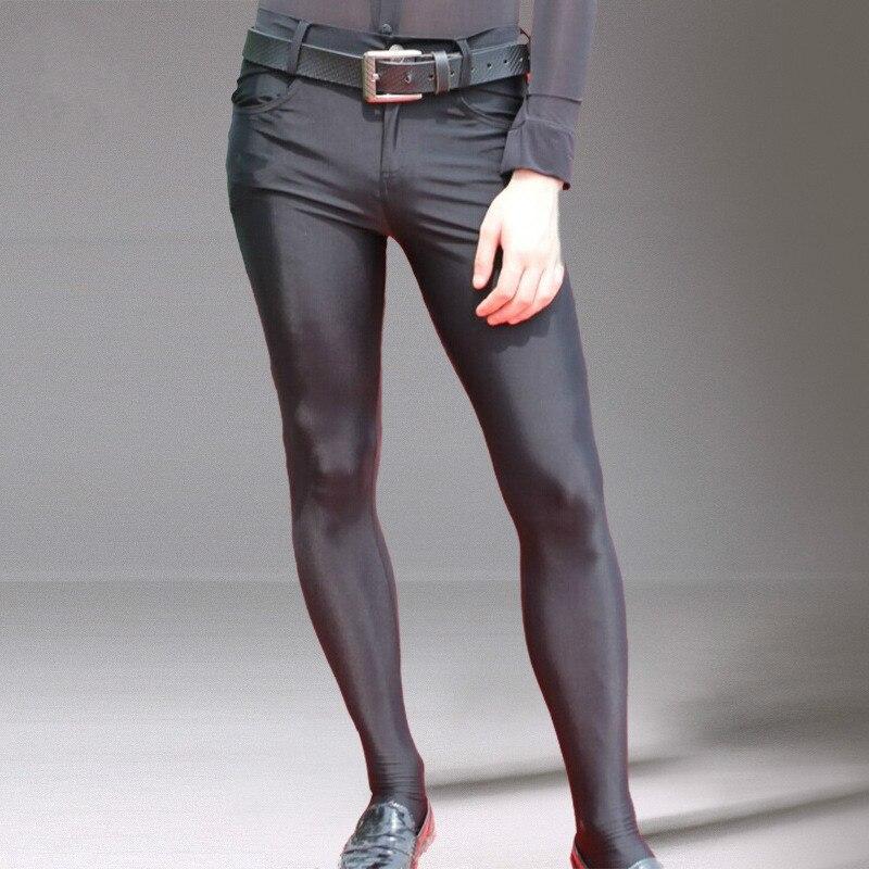 بنطال رجالي ضيق بناطيل ضيقة للرجال بنطال ليجينز يتمدد طويل تصميم مثير غير رسمي سروال بلون سادة ملابس الشارع
