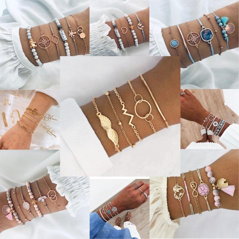 Europeu e americano moda artesanal frisado pulseira conjunto com amor borla estilo étnico liga jóias para o sexo feminino moderno