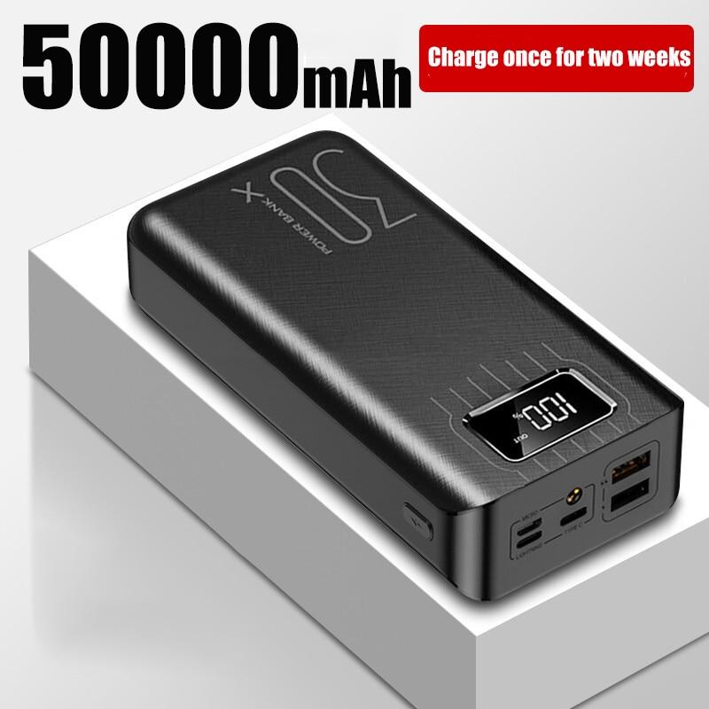 50000mAh Power Bank TypeC Micro USB QC Fast Charging outdoor camping Powerbank LED Display Portable