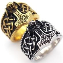 2020 nouveau Hip Hop Rock Punk Viking Rune concepteur Vintage anneau tremblement de terre tête de loup amulette anneaux pour hommes femmes