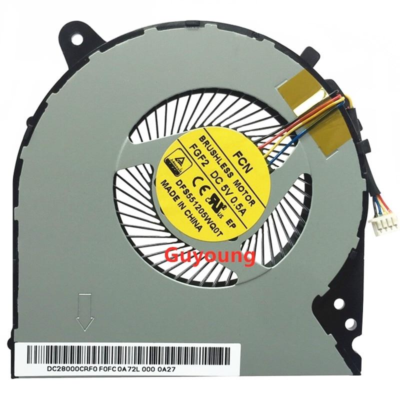 Ventilador para lenovo ideapad y700 Y700-15ISK ventilador cpu portátil p/n MF75100V1-C010-S9A dc28000crs0 4 pinos