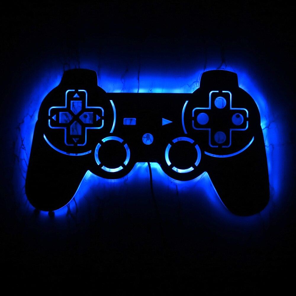 لوحة ألعاب الفيديو ، مرآة زخرفية مع إضاءة خلفية LED ، مصباح جداري ، مصباح ألعاب ، ديكور داخلي