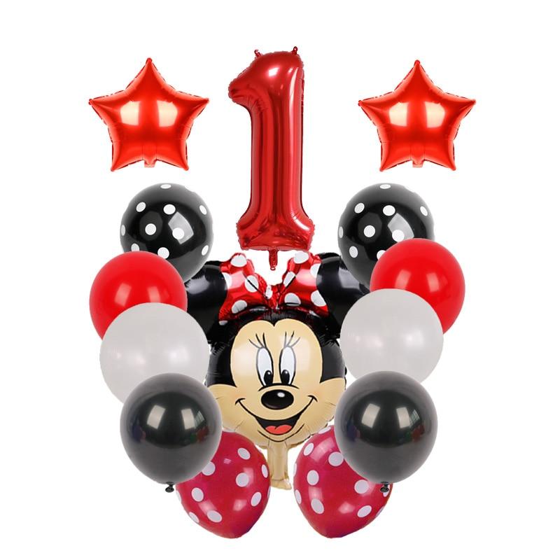 Balões decorativos do mickey mouse, balões de festas de aniversário infantil de 40 polegadas, vermelho e preto, gás de látex
