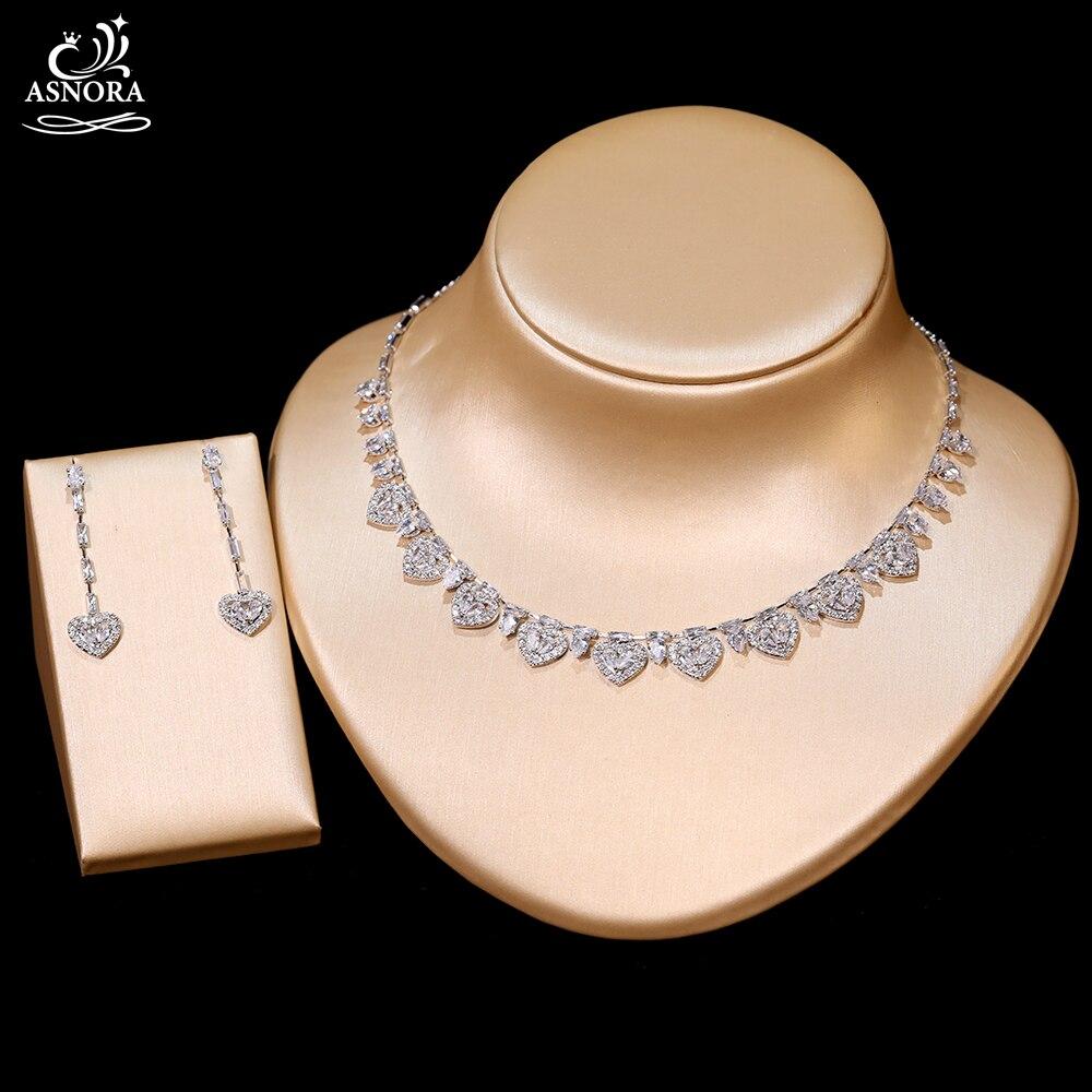 عالية الجودة شكل قلب مكعب سلسلة مرصعة بحجر الزركون أقراط طقم مجوهرات حفلات للنساء الزفاف مجوهرات الخطوبة X-01170