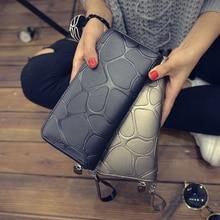 Women Stone Print Long Wallets Female Leather Brand Retro Zipper Coin Purses Ladies High Capacity Ca