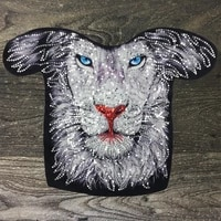 fashion large sequined lion patches fabrics for sewing clothes applique diyjacket decoration badges