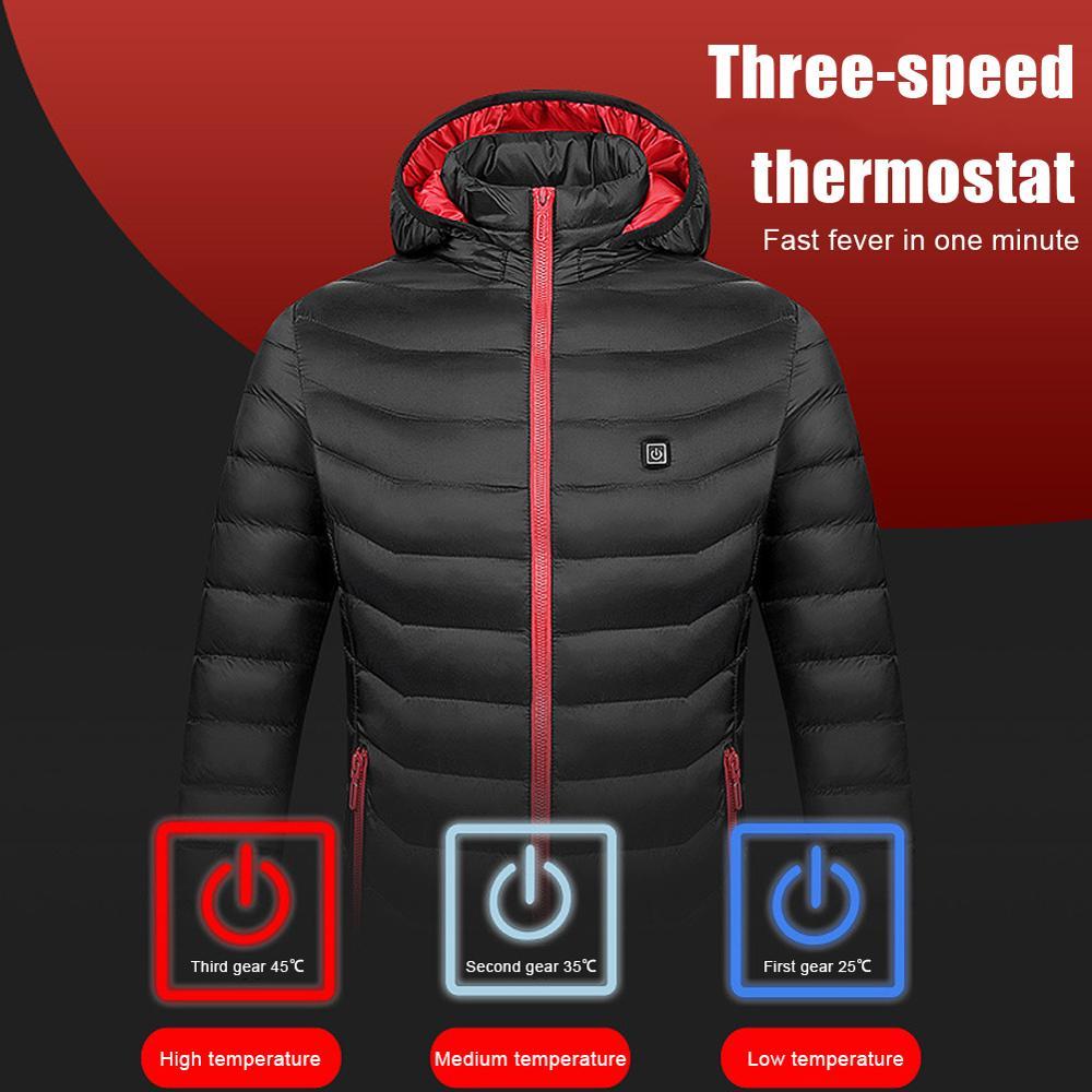 2020 Горячие мужские и женские теплые хлопковые стеганые куртки с USB зарядкой теплые холодные Водонепроницаемые зимние теплые черные куртки