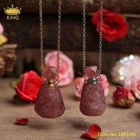natural strawberry quartz gold silvery perfume bottle pendant necklace for women crystal essential oil diffuser bottle jewelry