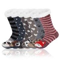 Fuzzy Socks Women Women\'s Slippers Sock Warm Plush Bedroom Silicone Non-slip Grip Soft Female Comfy Floor Fox Cow Designer Sock