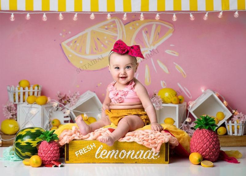 Lemon Yellow Backdrop Photography Newborn Baby Shower Birthday Party Photo Child Portrait Photographic Background Studio enlarge