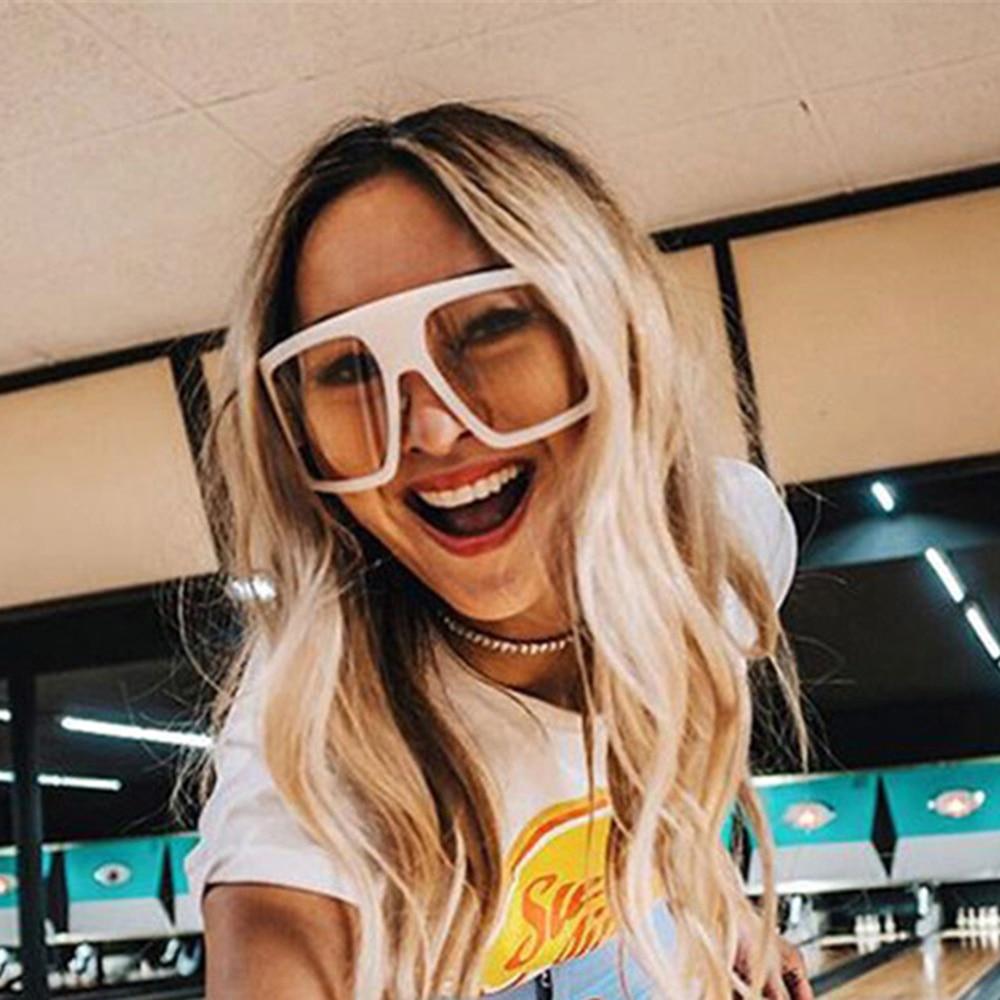One Piece Shield Square Sunglasses For Women Vintage Oversized Black Pink Sun Glasses Eyewear Female