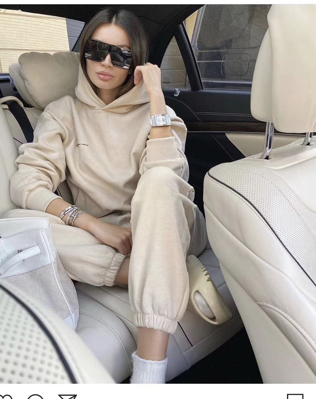 2021 Winter New Women's Clothing Plus Velvet Warm 2 Two-piece Sports Set Hooded Sweater Trousers Sui