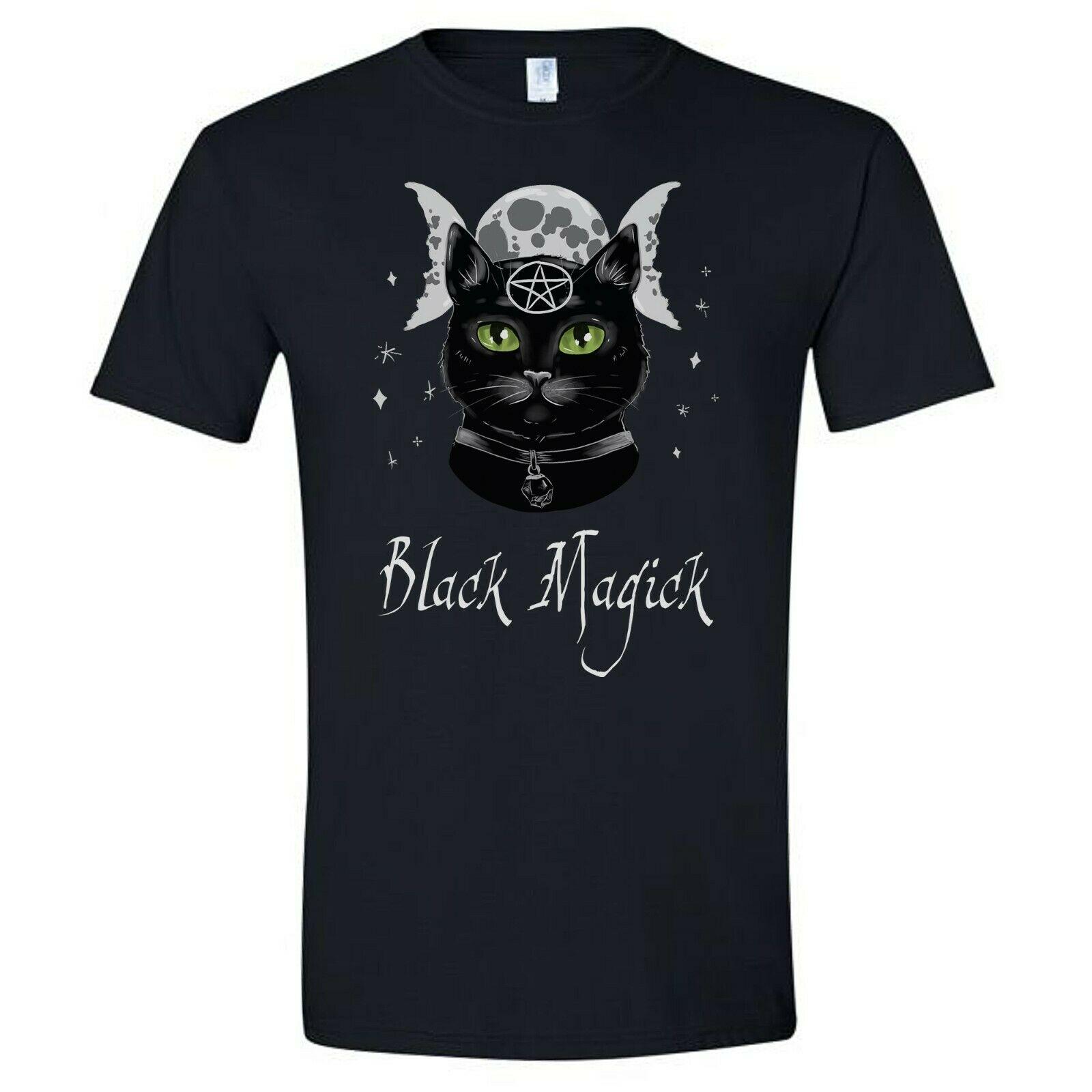 Preto magick camisa gato pagão triplo lua deusa bruxa wicca samhain wiccan presente