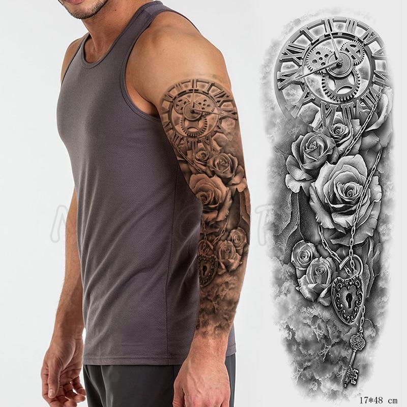 Tattoo Sticker Temporary Full Arm roman clock heart lock key flower Waterproof hand Tatoo Flash Fake boy girl large Tatto