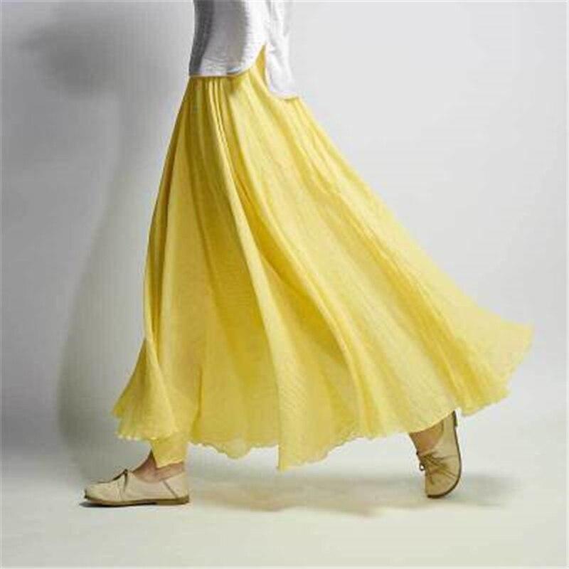 Falda larga De lino y algodón para Mujer, Faldas De Mujer informales...
